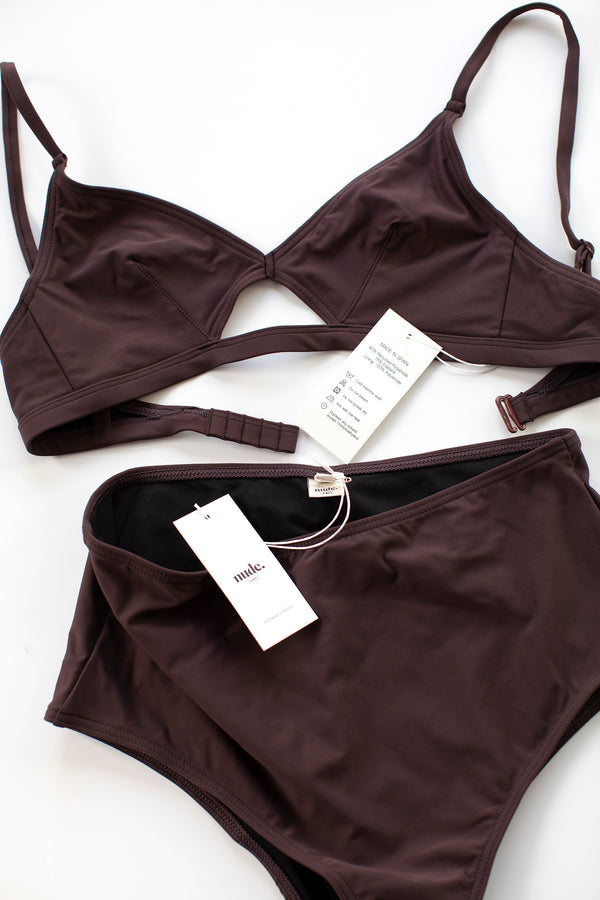High Waisted Swim Bottom - Burgundy - S-L
