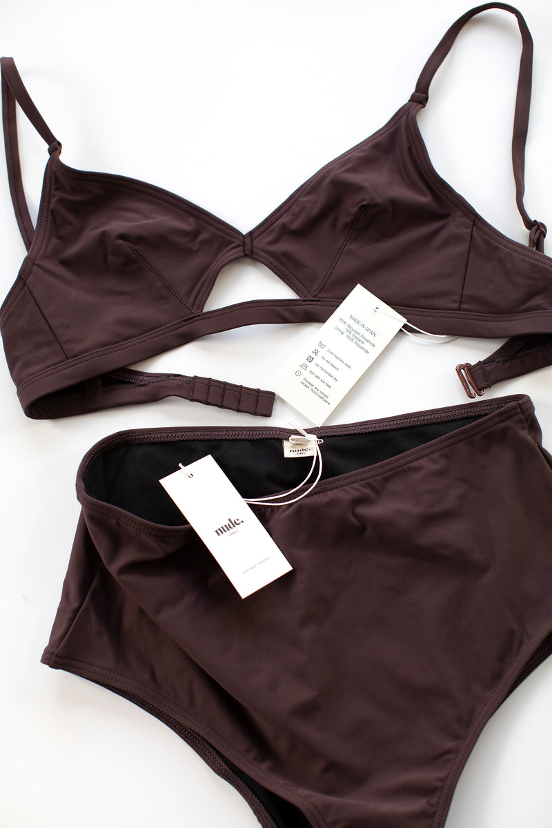 The Nude Label, Cut Out Swim Top - Burgundy - S-L - ROCKET SHOP LONDON
