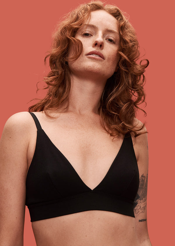 Organic Basics, Organic Cotton Triangle Bra Black - XL Left - ROCKET SHOP LONDON
