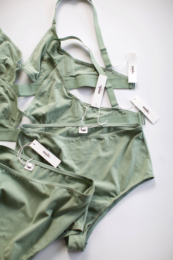 The Nude Label, Cut Out Bra Organic Cotton - Wide Strap - Mint - S-L - ROCKET SHOP LONDON
