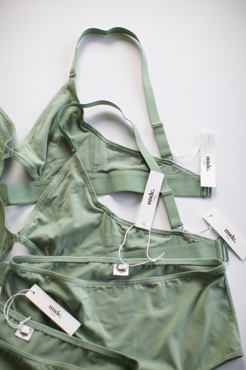 The Nude Label, Cut Out Bra Organic Cotton - Wide Strap - Mint - M-L - ROCKET SHOP LONDON