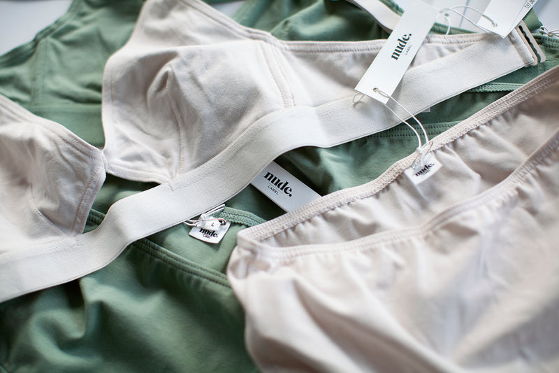 The Nude Label, Cut Out Bra Organic Cotton - Wide Strap - Pearl - M - ROCKET SHOP LONDON