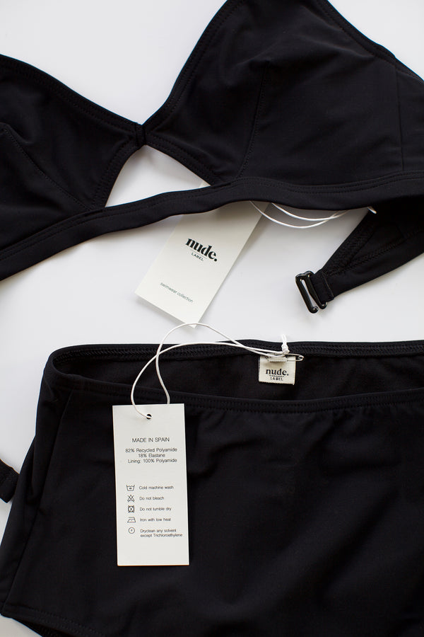 The Nude Label, Cut Out Swim Top - Black - S-L - ROCKET SHOP LONDON