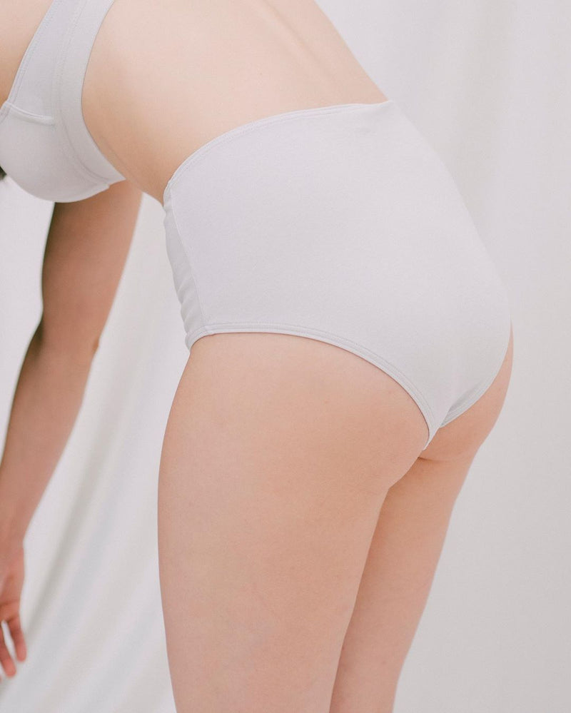 The Nude Label, High Waisted Brief Organic Cotton - Pearl - M - ROCKET SHOP LONDON