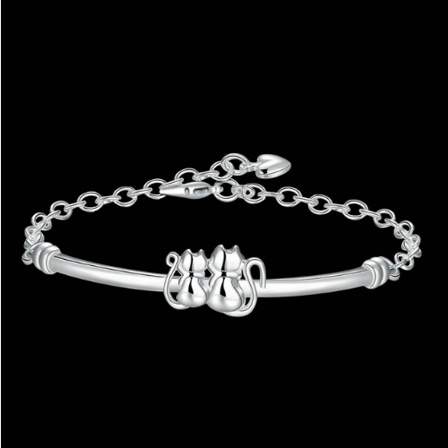 Classic Heirloom-quality Silver Cat Twins Bracelet