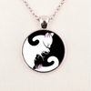 Image of Cat Yin Yang Glass Cabochon Necklace
