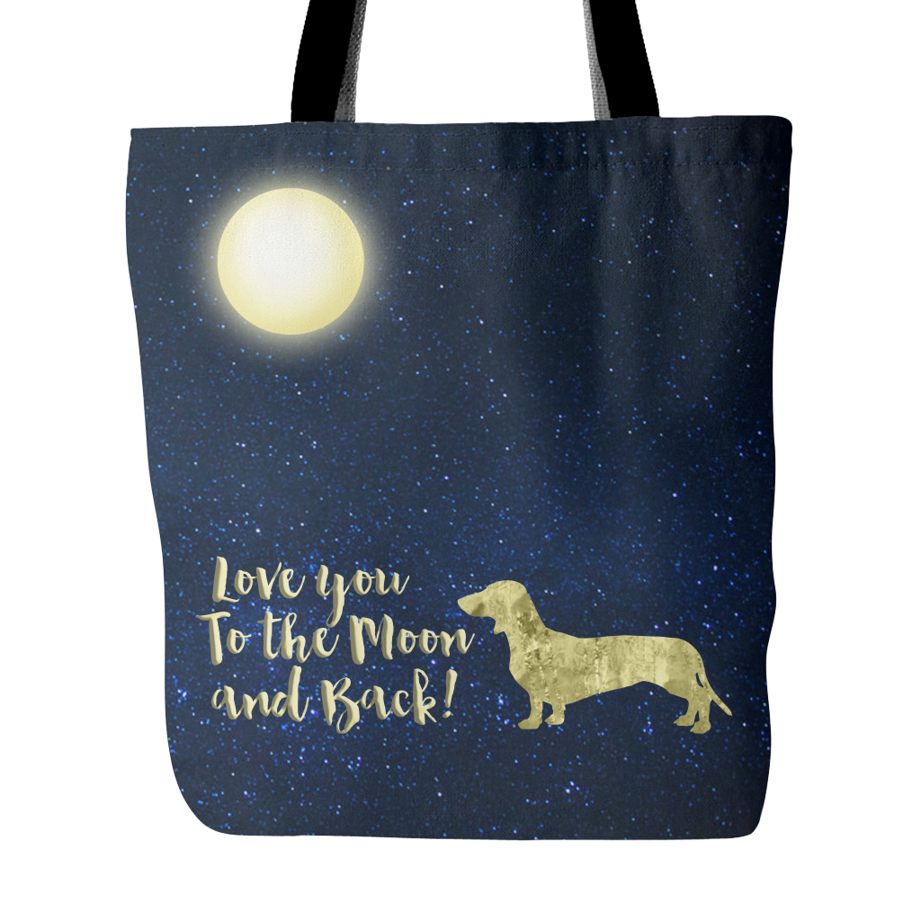 "Dachshund Tote Bag ""To The Moon"""