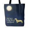"Image of Dachshund Tote Bag ""To The Moon"""