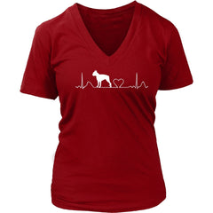 Boston Terrier Cute District Ladies V-Neck Tee