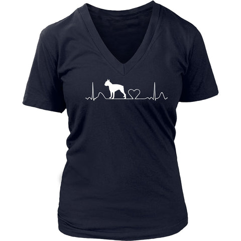 Boston Terrier - Boston Terrier Cute District Ladies V-Neck Tee
