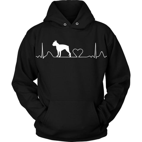 Boston Terrier Cute HeartBeat Pullover Hoodie