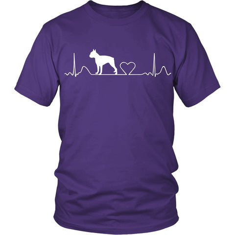 Boston Terrier Cute HeartBeat Uni-Sex Tee