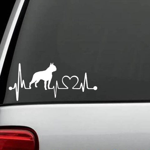 Boston Terrier Heartbeat Decal