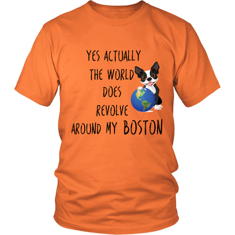 "Boston Terrier - Boston Terrier T-Shirt ""Yes Actually"""
