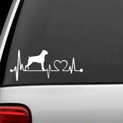 Boxer Natural Ears Heartbeat Decal