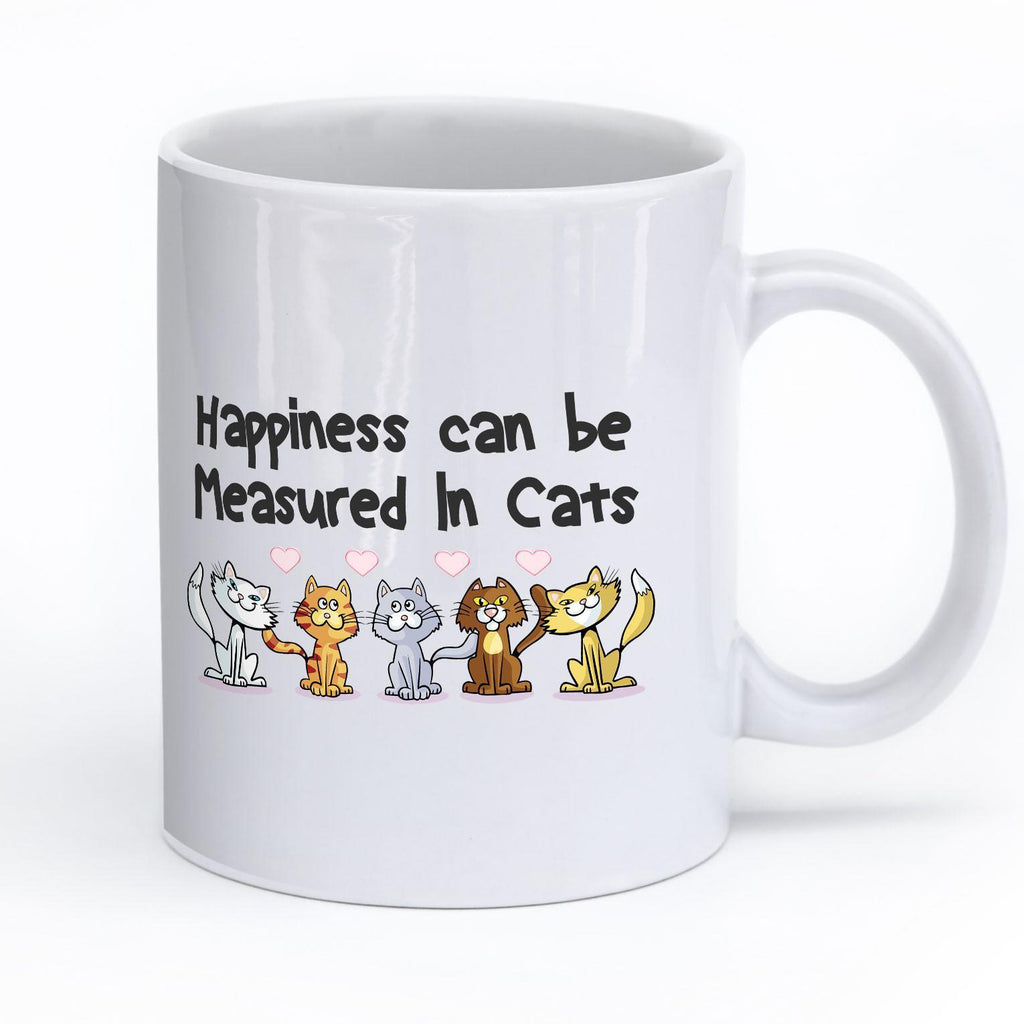 "Cats - Cat Mug Design ""Happiness Can Be Measured In Cats"""