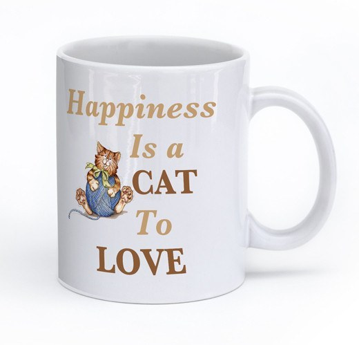 "Cats - Cat Mug Design ""Happiness Is A Cat To Love"""