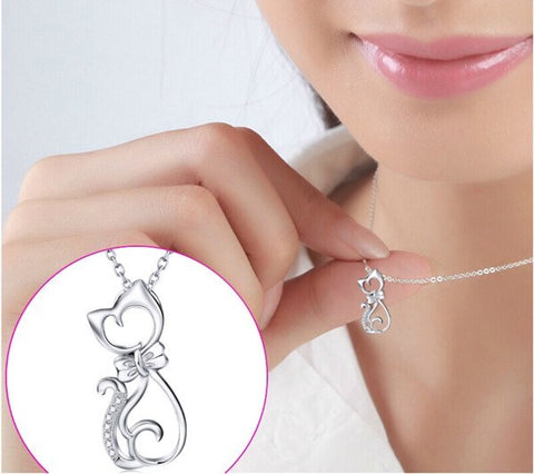 Cats - Cat With A Bow Tie Sterling Silver And Cubic Zirconia Necklace