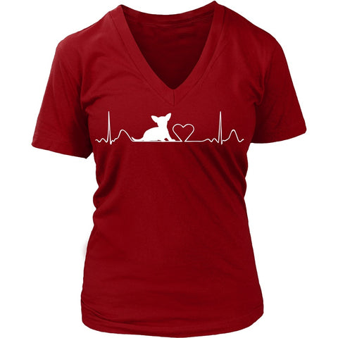 Chihuahua Cute HeartBeat Ladies V-Neck Tee