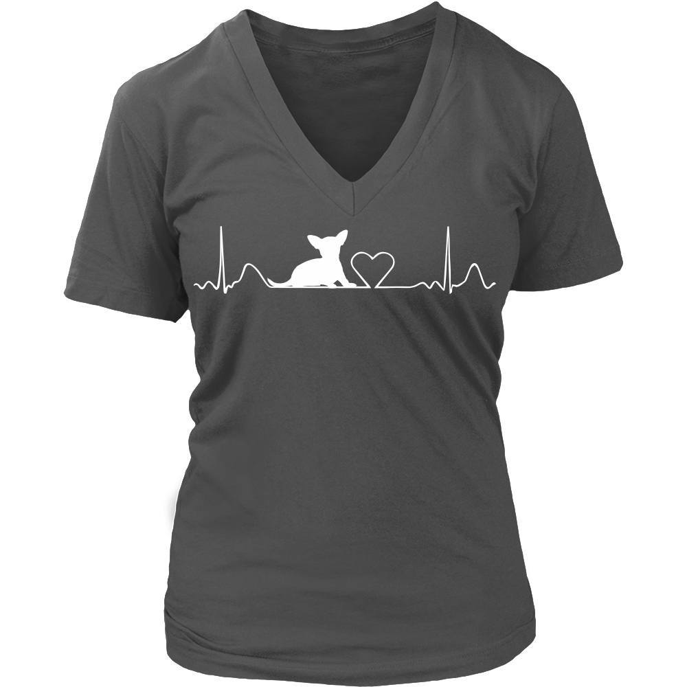 Chihuahua - Chihuahua Cute HeartBeat Ladies V-Neck Tee