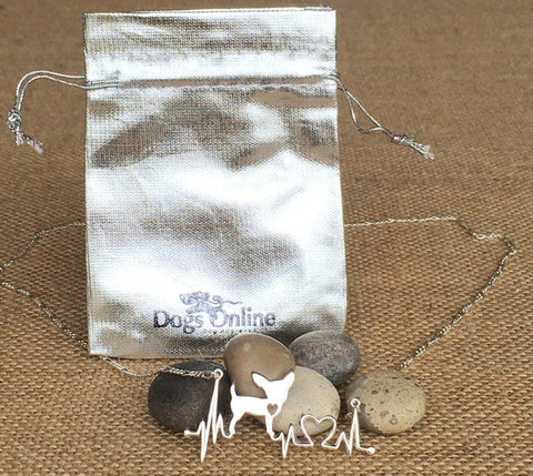 Chihuahua Heartbeat Sterling Silver Necklace