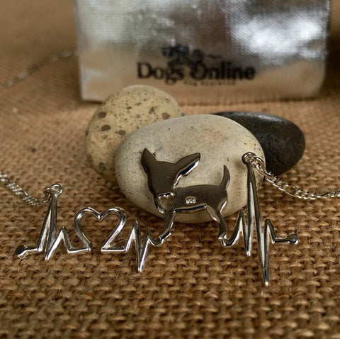 Chihuahua - Chihuahua Heartbeat Sterling Silver Necklace