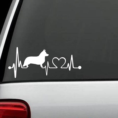 Cardigan Welsh Corgi Heartbeat Decal