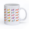 "Image of Dachshund Mug "" Wearing Colored Sweaters Design"""