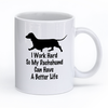 "Image of Dachshund Mug Design ""I Work Hard"""