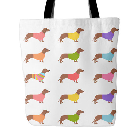 Dachshund Tote Bag Colored Sweaters Design