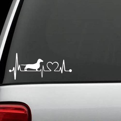 Dachshunds - Dachshund Heartbeat Decal For Vehicles