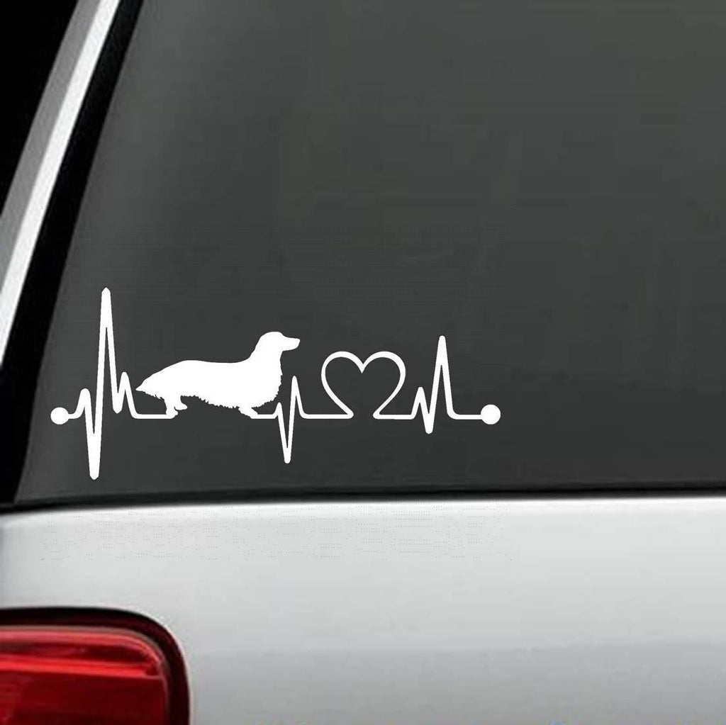 Dachshunds - Dachshund Long Hair Heartbeat Design Decal