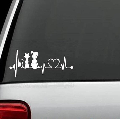 Dog And Cat Exclusive HeartBeat Design Decal