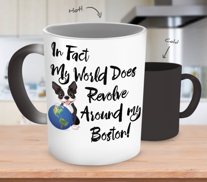 Boston Terrier World Revolves Color Changing Mug
