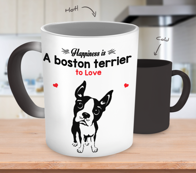 Boston Terrier Happiness Color Changing Mug