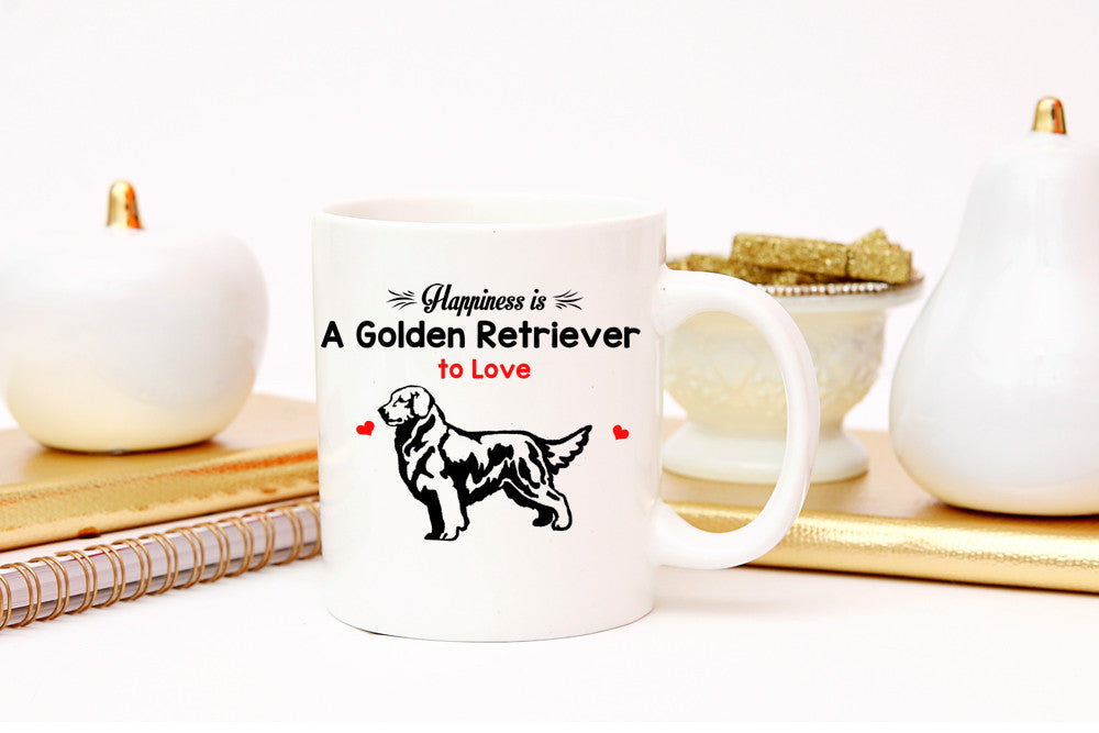 "Golden Retriever - Golden Retriever Mug ""Happiness Is A Golden Retriever To Love"""