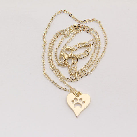 Dog Paw in Heart Pendant and Chain