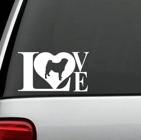 Pug LOVE Heart Exclusive Decal