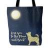 Image of Chihuahua Design Tote Bag To The Moon and Back