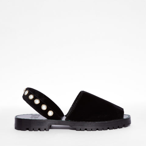 Black Pearl Velvet Slide