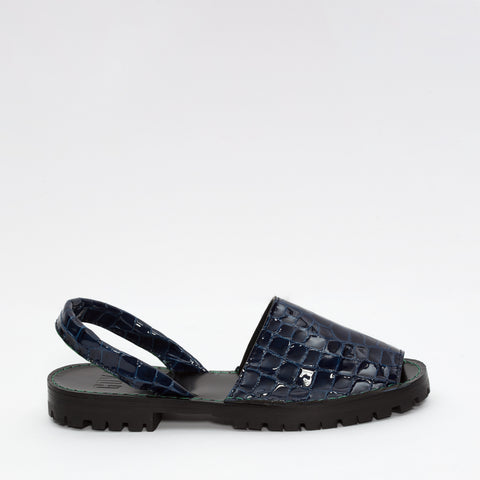 GOYA Midnight Blue Patent Croc Slide