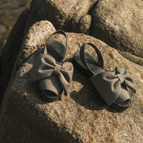 GOYA Herringbone Tweed Bow Sandals