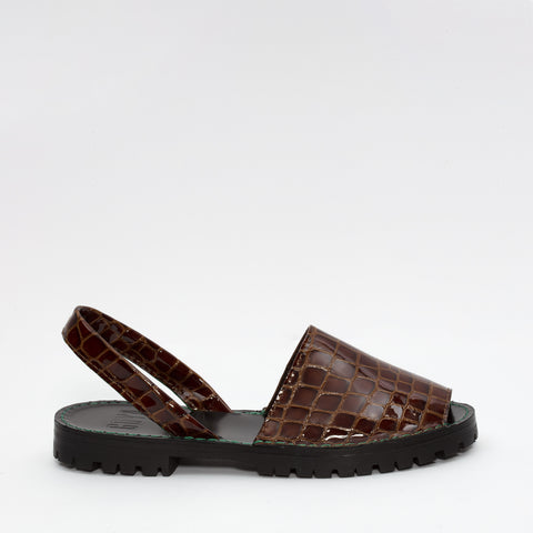 Whisky Patent Croc Slide