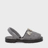 GOYA Slate Crystal Embellished Felt Sandals