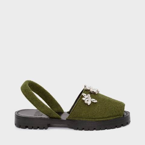 GOYA Moss Crystal Embellished Felt Sandals