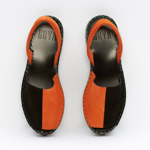 Black/Orange Bi-Colour Suede GOYA Slide