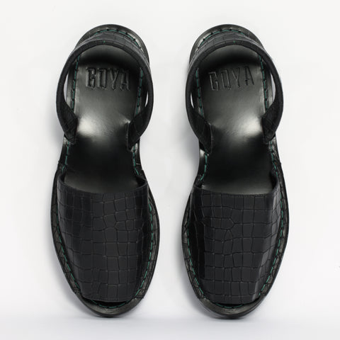GOYA black croc slide for women