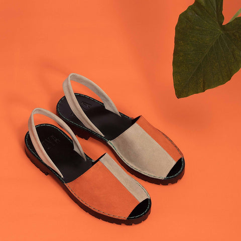 Orange/Beige Bi-Colour Suede GOYA Slide