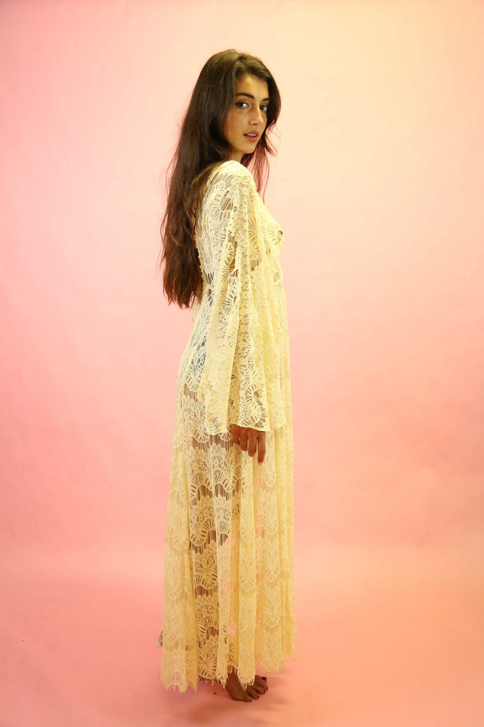 70s Style Cream Lace Angel Sleeve Maxi Dress