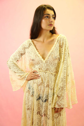 1970s Floral And Cream Indian Cotton Gauze Tunic Dress
